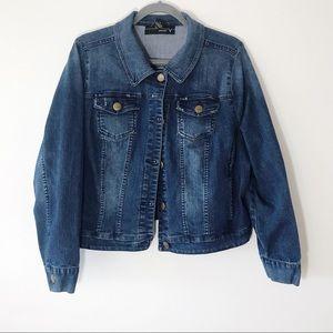 Venezia Dark Wash Distressed Crop Denim Jacket 18